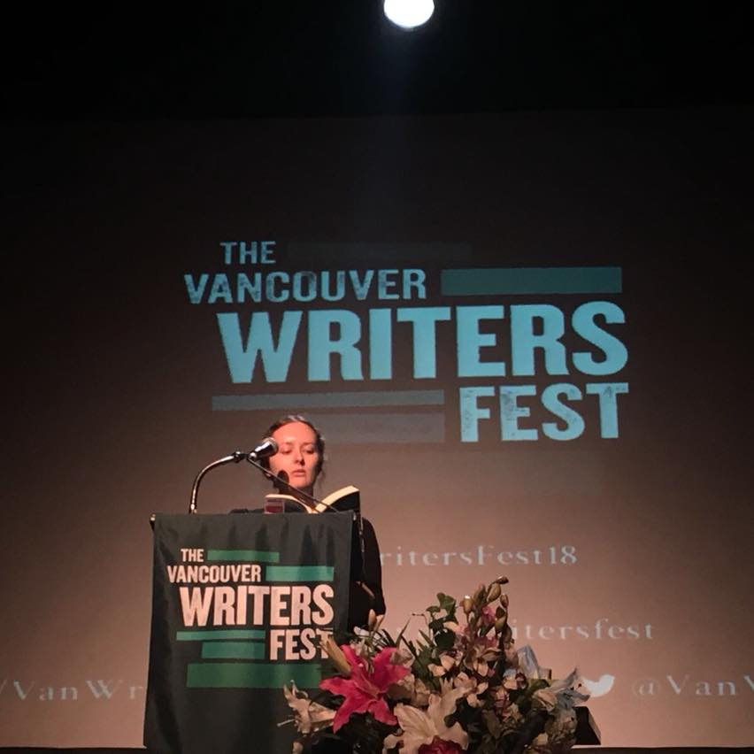 me, reading at the Vancouver Writers Fest